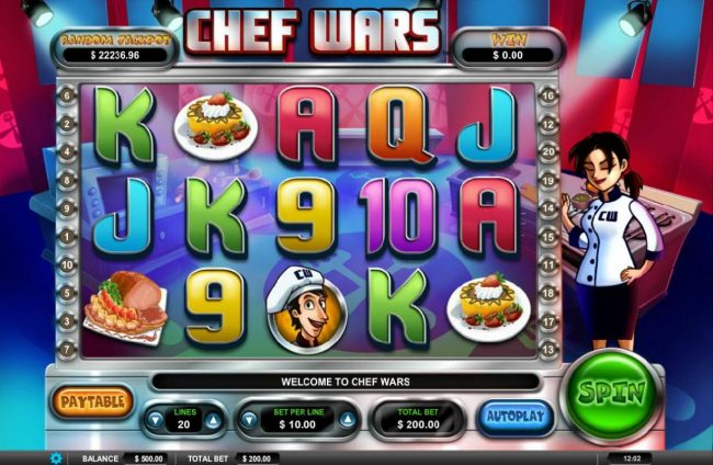 Gossip Slots featuring the Video Slots Chef Wars with a maximum payout of $50,000