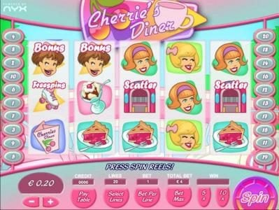 Royal Panda featuring the Video Slots Cherrie's Diner with a maximum payout of $100,000