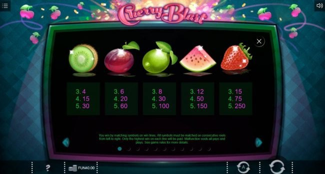 Reel Vegas featuring the Video Slots Cherry Blast with a maximum payout of $4,000