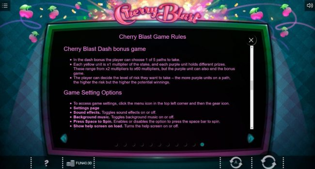 Conquer featuring the Video Slots Cherry Blast with a maximum payout of $4,000