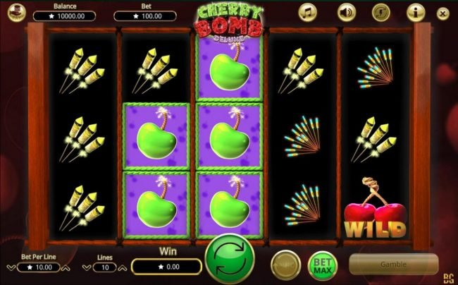Cherry Bomb Deluxe :: Main game board featuring five reels and 10 paylines with a $200,000 max payout.