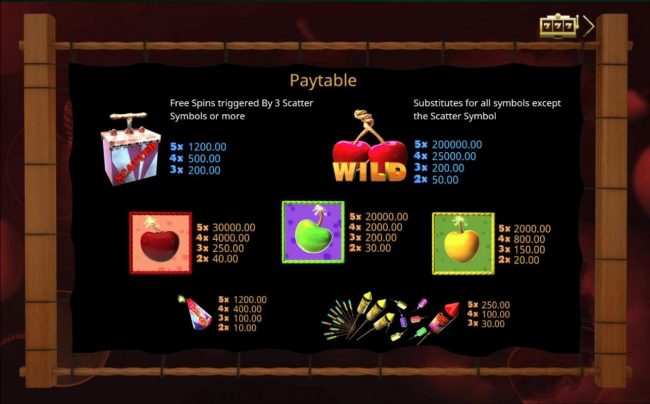 Cherry Bomb Deluxe :: Slot game symbols paytable feature fireworks inspired icons.