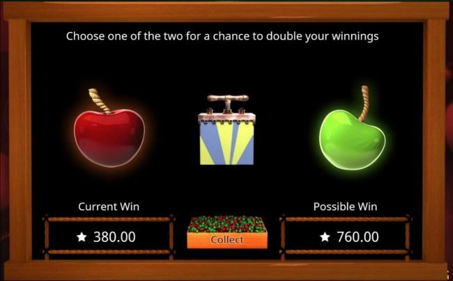 Cherry Bomb Deluxe :: Double or Nothing Gamble Feature - Choose one of the two for a chance to double your winnings.