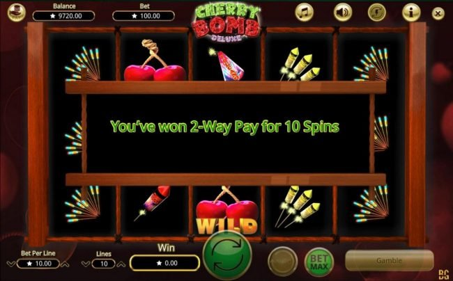Cherry Bomb Deluxe :: Landing three or more wild symbols anywhere on the reels triggers the 2-Way Pay feature for 10 spins.