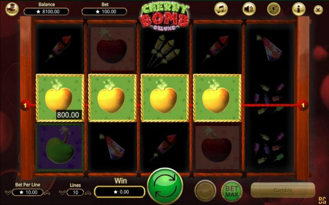 Cherry Bomb Deluxe :: A four of a kind yellow cherry bombs triggers an 800.00 jackpot.