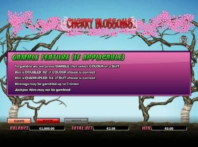 Euro King featuring the Video Slots Cherry Blossoms with a maximum payout of $25,000