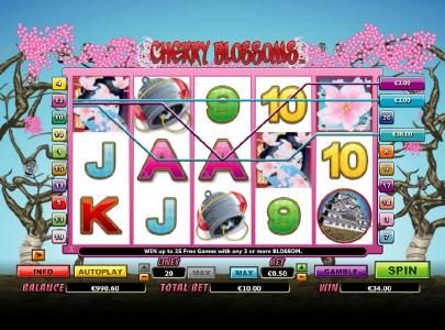 Jackpot Knights featuring the Video Slots Cherry Blossoms with a maximum payout of $25,000