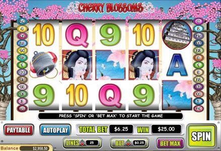 Play slots at Red Stag: Red Stag featuring the Video Slots Cherry Blossoms with a maximum payout of $125,000