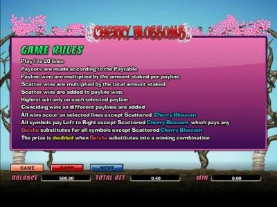 Royal House featuring the Video Slots Cherry Blossoms with a maximum payout of 12500x