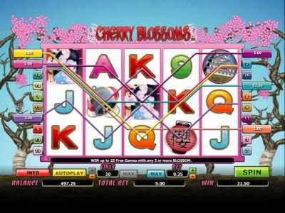 Sin Spins featuring the Video Slots Cherry Blossoms with a maximum payout of 12500x