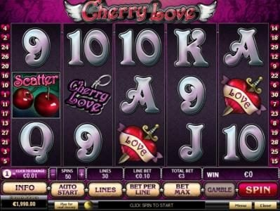 Cherry Love :: Main game board featuring five reels and 30 paylines with a $20,000 max payout