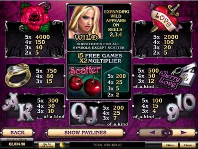 Cherry Love :: Slot game symbols paytable
