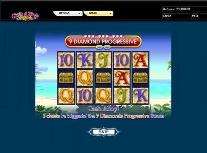 Chests of Plenty slot game cash ahoy! 3 chests be triggerin' the 9 diamonds progressive bonus
