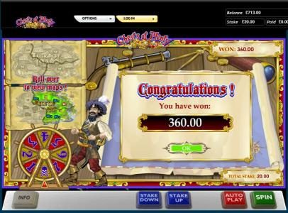 Chests of Plenty slot game congratulations you won