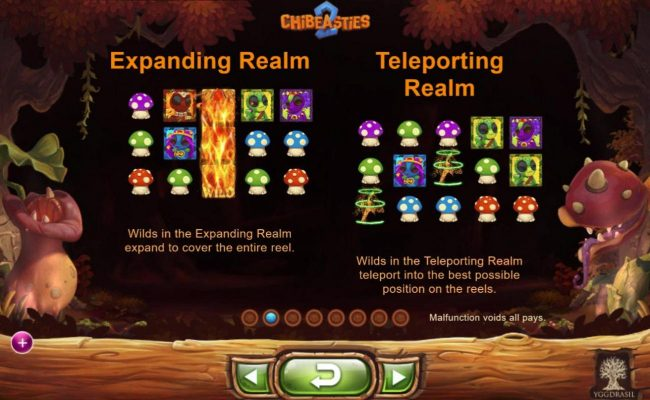 Chibeasties 2 :: Wilds in the Expanding Realm expand to cover the entire real. Wilds in the Teleporting Realm teleport into the best possible position on the reels.