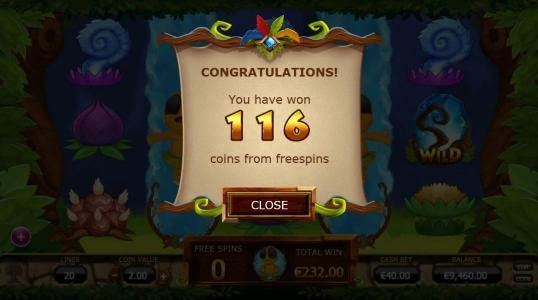 Chibeasties :: The free spins feature pays out 116 coins