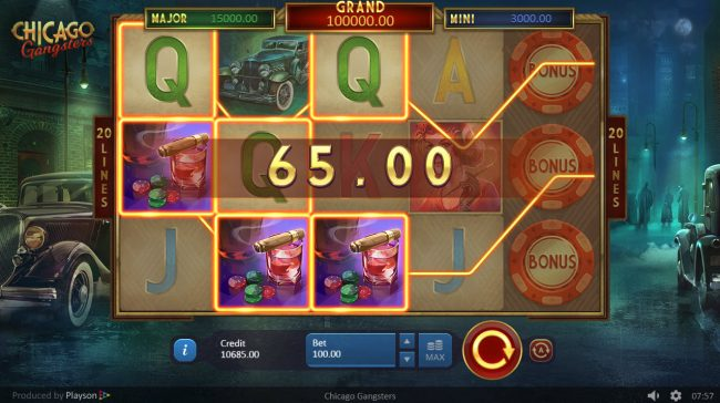 Magik Slots featuring the Video Slots Chicago Gangsters with a maximum payout of $15,000