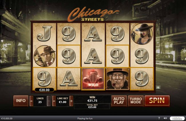 Vernons featuring the Video Slots Chicago Streets with a maximum payout of $500,000