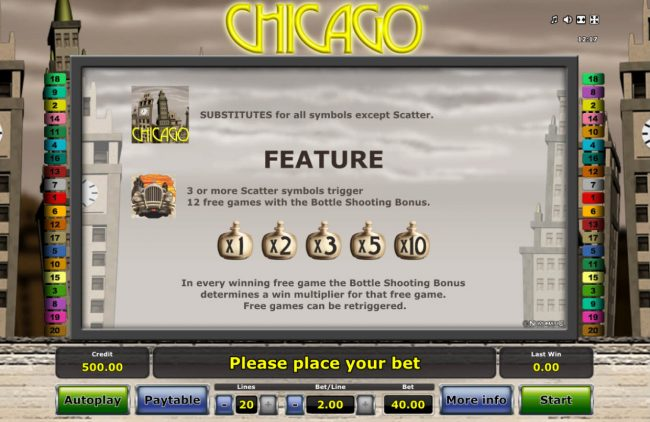 Energy featuring the Video Slots Chicago with a maximum payout of $20,000