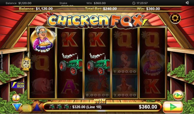 Karamba featuring the Video Slots Chicken Fox with a maximum payout of $94,500