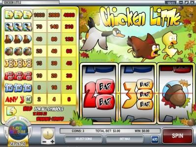 Golden Lady featuring the Video Slots Chicken Little with a maximum payout of $120,000