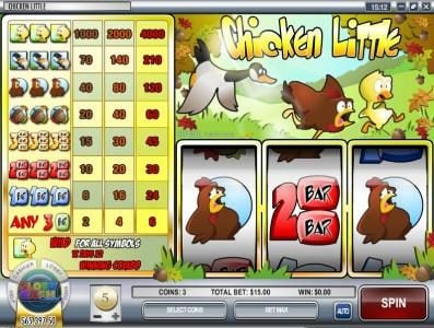 Mayan Fortune featuring the Video Slots Chicken Little with a maximum payout of $120,000