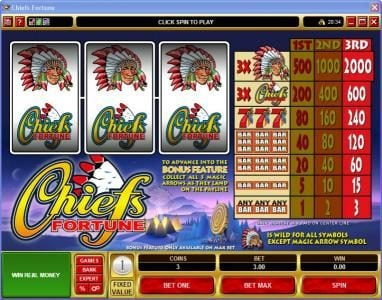 Play slots at First Web: First Web featuring the Video Slots Chiefs Fortune with a maximum payout of $6,000