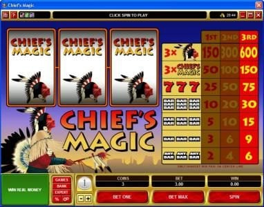 Play slots at Gala: Gala featuring the video-Slots Chief's Magic with a maximum payout of $9,000