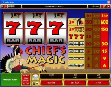 18 Bet featuring the video-Slots Chief's Magic with a maximum payout of $9,000