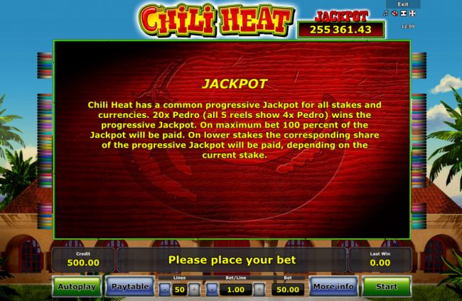 Winner Million featuring the Video Slots Chili Heat with a maximum payout of Jackpot