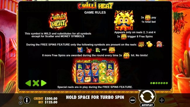 Wild Jackpots featuring the Video Slots Chilli Heat with a maximum payout of Jackpot