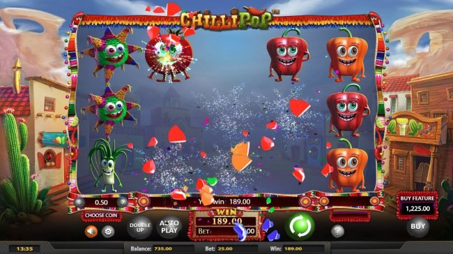 Chilli Pop :: Winning combinations are removed from the reels and new symbols drop in place