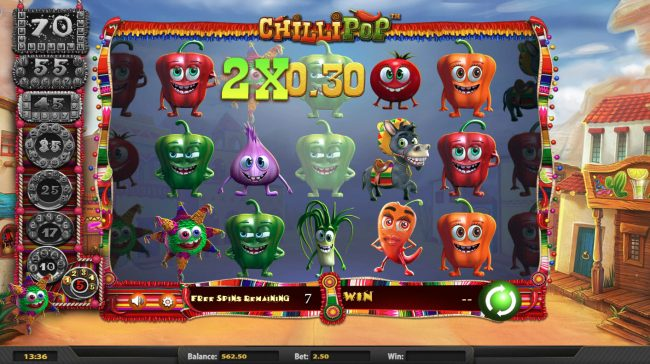 Spartan Slots featuring the Video Slots Chilli Pop with a maximum payout of $25,000