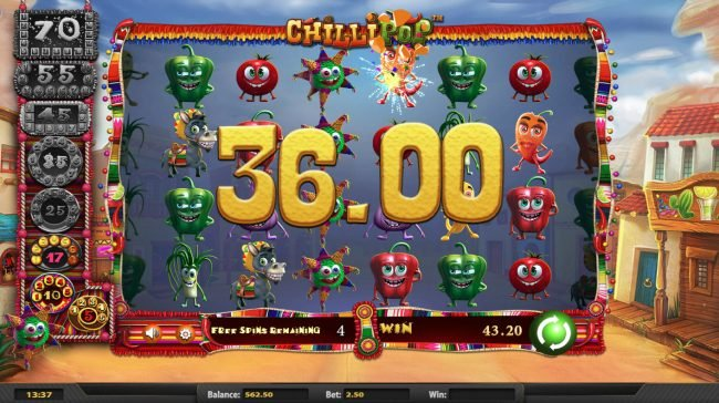 Slots Jackpot featuring the Video Slots Chilli Pop with a maximum payout of $25,000