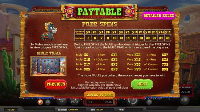 Chilli Pop :: Free Spins Rules