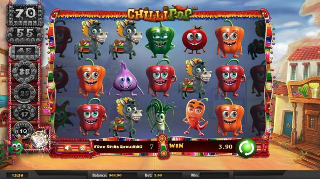 Dragonara featuring the Video Slots Chilli Pop with a maximum payout of $25,000