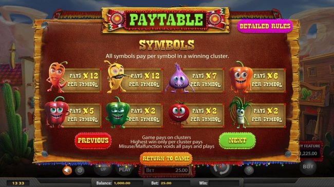 Gossip Slots featuring the Video Slots Chilli Pop with a maximum payout of $25,000