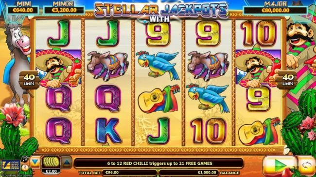 Euro Slots featuring the Video Slots Chilli Gold x2 with a maximum payout of $10,000