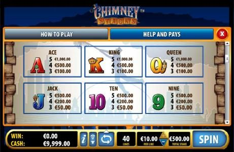 Chimney Stacks :: paytable continued