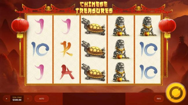 Chinese Treasures :: Main game board featuring five reels and 20 paylines with a $7,500 max payout.