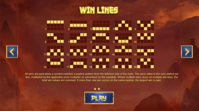 Chinese Treasures :: Payline Diagrams 1-40. All wins are paid when a symbol matches a payline pattern from the leftmost side of the reels.