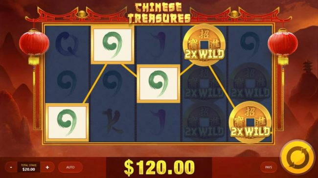 Chinese Treasures :: A winning Five of a Kind triggered by two 2x Wilds leading toa 120.00 payout.