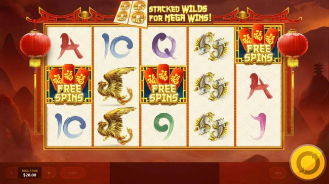Chinese Treasures :: Free Spins scatter symbols triggers the bonus feature.