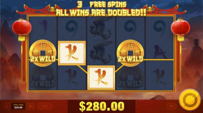 Chinese Treasures :: A 280.00 jackpot triggered during the free games feature.