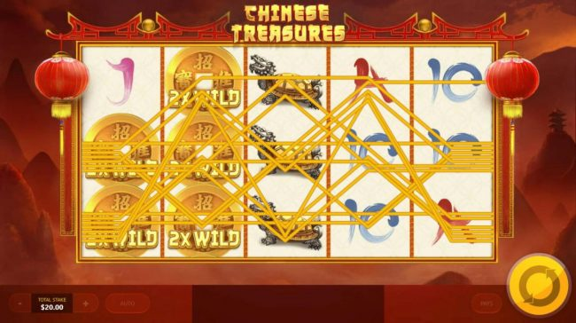 Chinese Treasures :: 2x Wilds symbols on reels 1 and 2 triggers a huge win.
