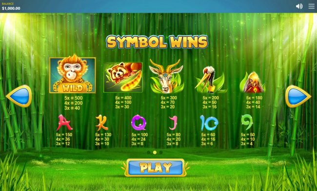 Chinese Wilds :: Paytable
