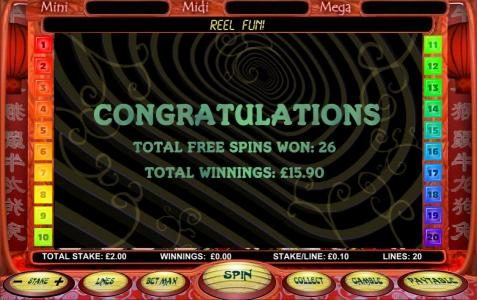 free spins total payout $15