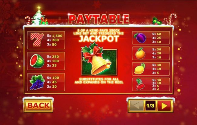 Slots Heaven featuring the Video Slots Christmas Jackpot Bells with a maximum payout of $37,500