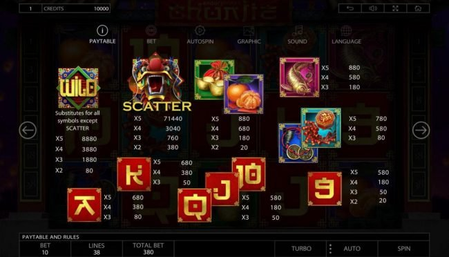 Crystal featuring the Video Slots Chunjie with a maximum payout of $337,440
