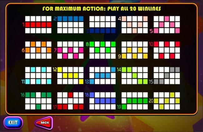 Payline Diagrams 1-20. For maxium action: play all 20 paylines.
